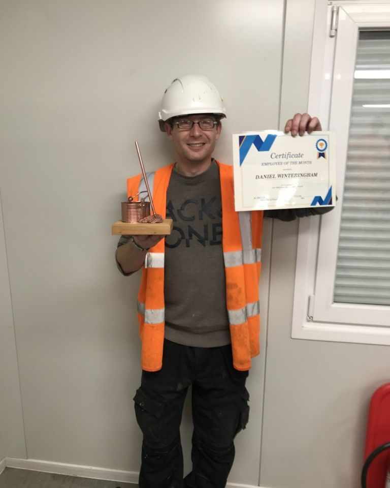 Congratulations to our team member, Daniel Winteringham, for being awarded 'Employee Of The Month' for November on the BAM Nuttall York B11 Flood Defences Project.