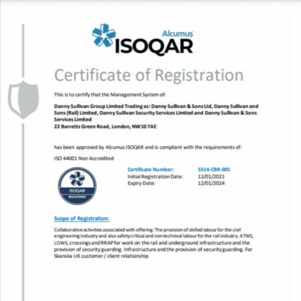 DSG receive certification for ISO 44001