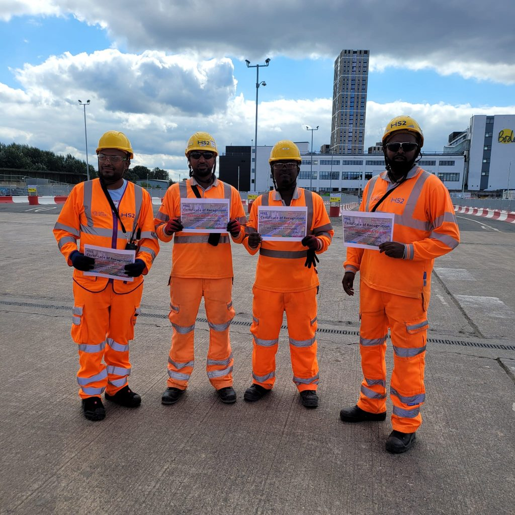 Four DSG Traffic marshals awarded with a certificate of recognition by the HS2 Logistics community