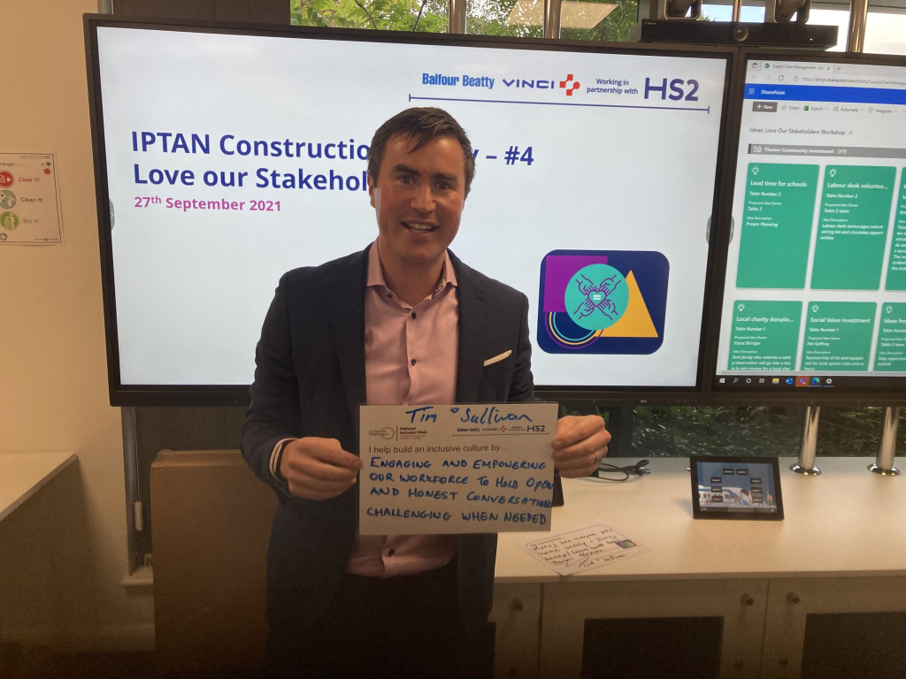 Managing Director Tim O Sullivan and HSW Manager Ruairí Coffey attend the Balfour Beatty VINCI HS2 Love Our Stakeholders session